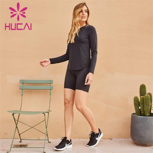 Black Sports T-shirt And 4-point Pants Suit Wholesale