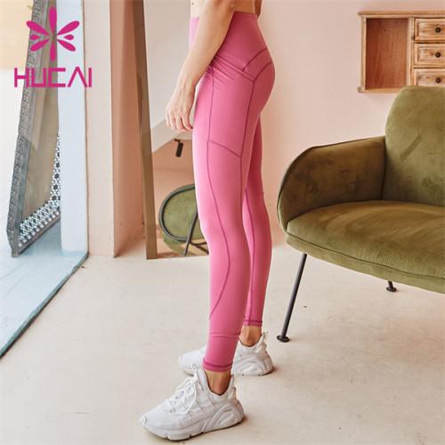 Pink High Waist Leggings Custom Wholesale
