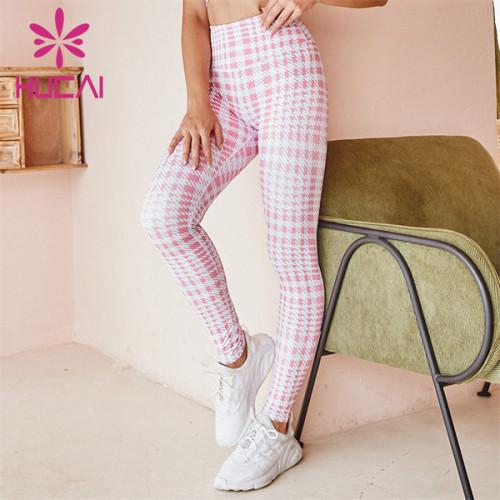 High Waist Plaid Fitness Pants Wholesale Customization