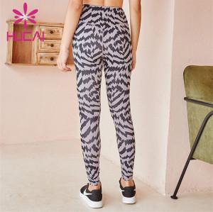 Customized Wholesale Zebra Print High Waist Fitness Pants