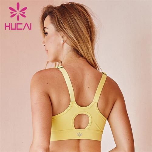 Customized Wholesale Solid Color Mesh Design Sports Bra