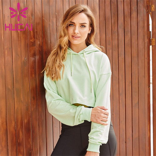 Custom Solid Color Long Sleeve Hooded Sweatshirt