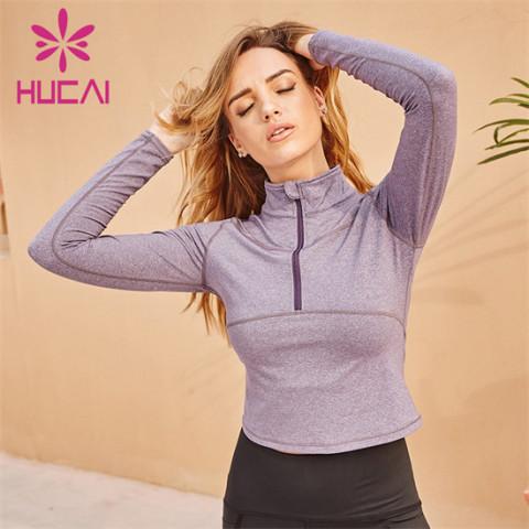 Pure Color Long Sleeve Zipper Wweatshirt Custom Wholesale