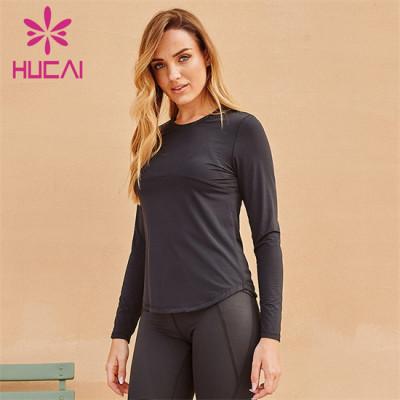 Black Tight-Fitting Long-Sleeved Sweatshirt Wholesale