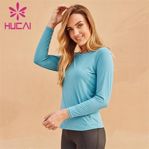 Custom Blue Tight-Fitting Long-Sleeved Sweatshirt