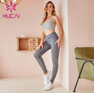 Solid Color Sports Bra And Printed Leggings Suit Customization