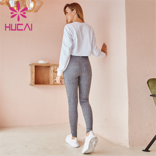 Pure Color Sports Top And Printed Leggings Suit Wholesale