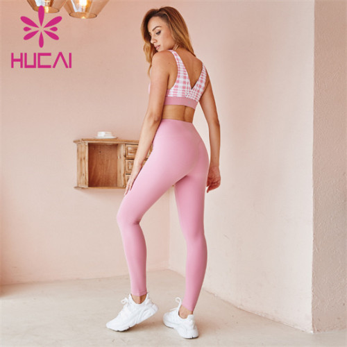 Gym Solid Color Sports Bra And Leggings Suit Customization