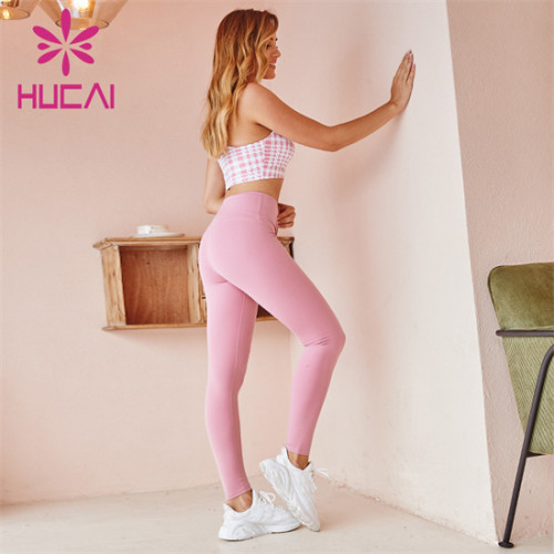 Custom Printed Sports Bra And Pink Leggings Suit