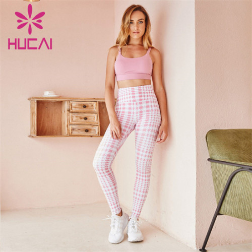 Pure Color Sports Bra And Printed Leggings Wholesale