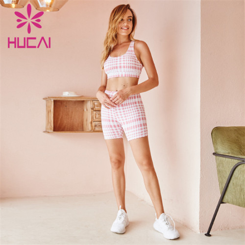 Printed Sports Bra And Cycling Shorts Suit Wholesale