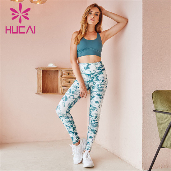 Wholesale Solid Color Sports Bra And Printed Leggings Set