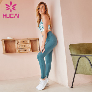 Wholesale Printed Sports Bra And Solid Color Leggings Set