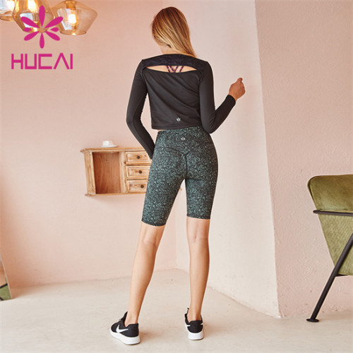 Customized Black Sportswear And Printed Cycling Shorts Set