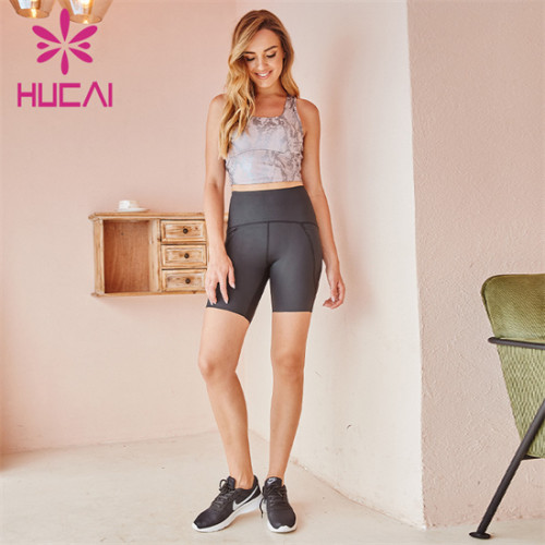 Sexy Snake Print Sports Bra And Cycling Shorts Suit Wholesale