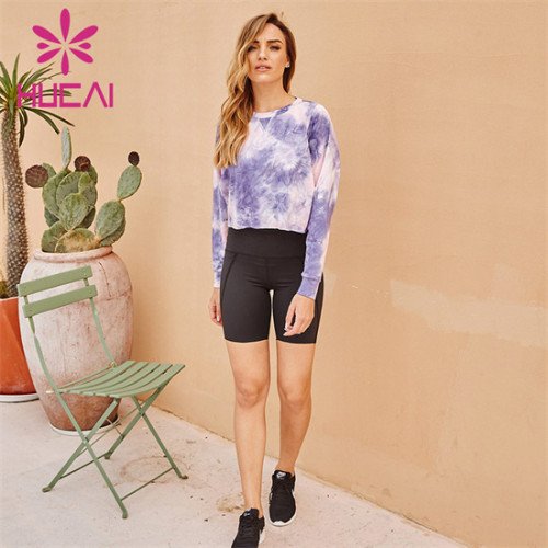 Long Sleeve Printed Top And Cycling Shorts Suit Wholesale
