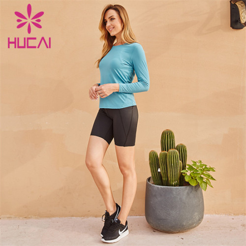 Blue Sports Top And Cycling Shorts Suit Wholesale