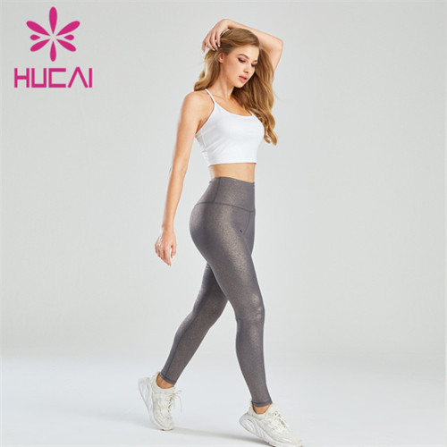 Pure Color Sports Bra And Bronzing Leggings Set Wholesale