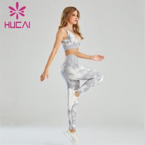 Tie-dye Craft Sports Bra And Yoga Pants Suit Wholesale