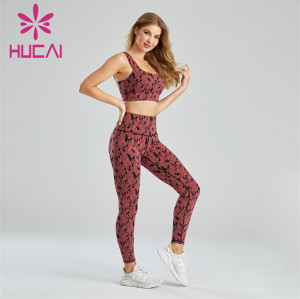 Camouflage Jacquard Sports Bra And Leggings Suit Wholesale