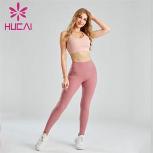 Light Pink Sports Bra And Dark Pink Leggings Suit Wholesale