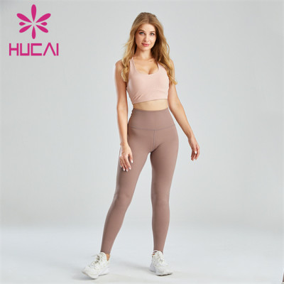 Solid Color Yoga Bra And High Waist Yoga Pants Suit Customization