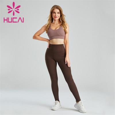 Hollow Sports Bra And Dark Leggings Suit Wholesale