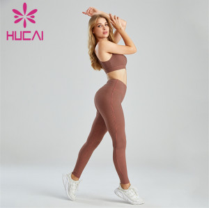 Houndstooth Print Sports Bra And Leggings Set Wholesale