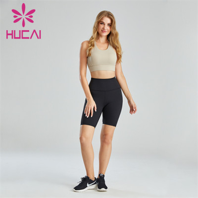 Pure Color Sports Bra And Cycling Shorts Suit Wholesale