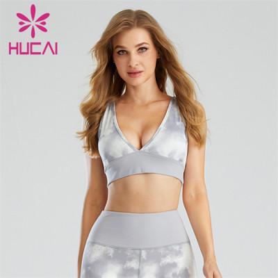 Custom Tie-dye Process V-neck Sexy Sports Bra Supplier