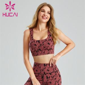 Fashion Camouflage Jacquard Open Back Sports Bra Customization