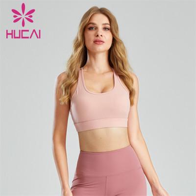 Light Pink Sexy Backless Sports Bra Customization