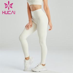 Wholesale White High-waist Hip-lifting Fitness Leggings