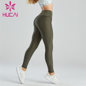 Dark Green Running Fitness Yoga Leggings Custom Wholesale