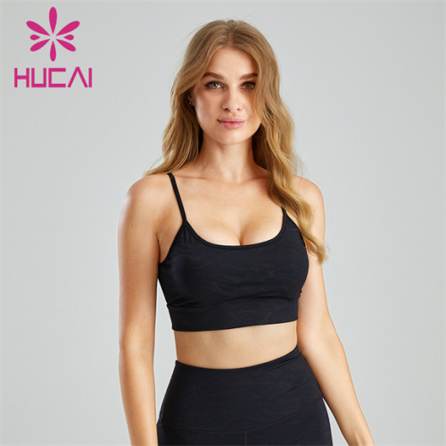 Sexy Pure Black Sling Sports Bra Wholesale Supplier