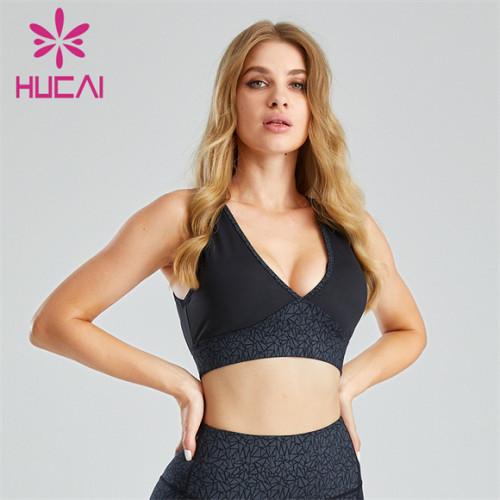 Customized Wholesale Hot Stamping Fabric V-neck Sports Bra