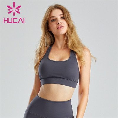 Grey U-neck Halter Sports Bra Wholesale Custom