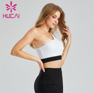 Black And White Stitching Semi Strapless Sports Bra Customization