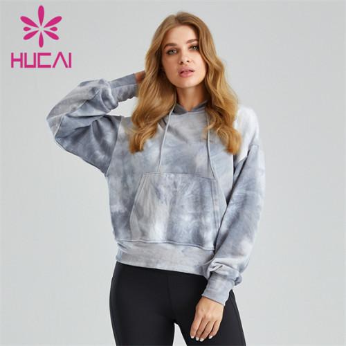 Customized Tie-dye Hooded Big Backless Ladies Sports Sweatshirt