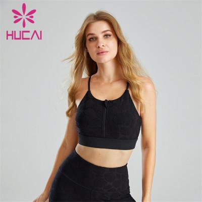 Customized Nylon Jacquard Fabric And Zipper Design Sports Bra
