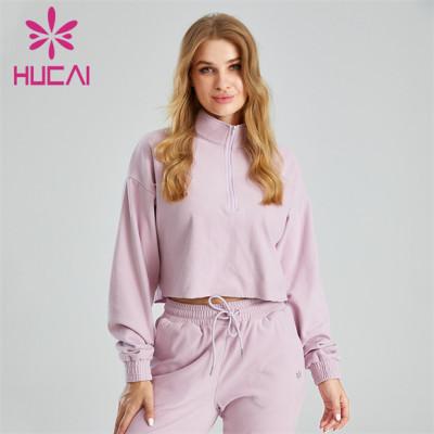 Light Purple High Neck Zipper Ladies Sports Hoodie Wholesale