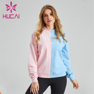 Fashion Two-color Stitching Embroidery Ladies Hoodie Customization