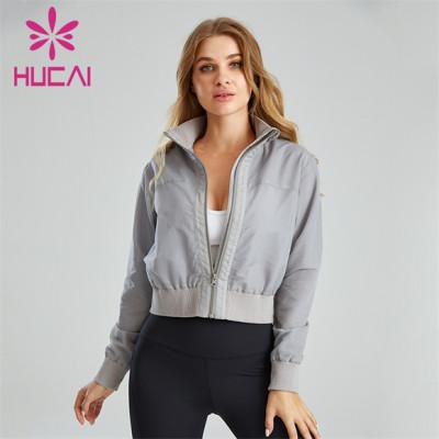 Ladies Gray Turtleneck Jacket Wholesale Customization