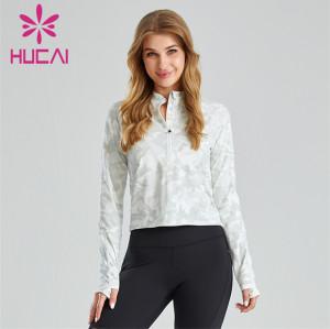 Half Zipper Design Printed Ladies Sweatshirt Customization