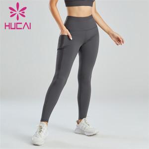Ladies Black Pocket Design Fitness Leggings Wholesale
