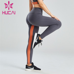 Gray And Yellow Color Matching Ladies Fitness Leggings Customization