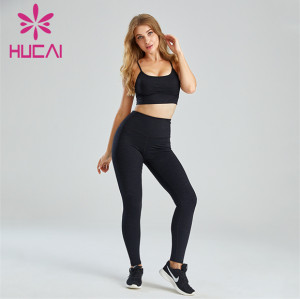 Black Sling Sports Bra and Tight Leggings Suit Wholesale