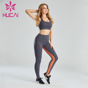 Yellow And Gray Color Matching Sports Bra And Leggings Suit Wholesale