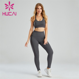 Gym Grey Sports Bra And Leggings Suit Wholesale