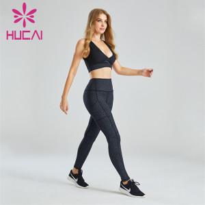 Deep V Sports Bra And Printed Leggings Suit Customization